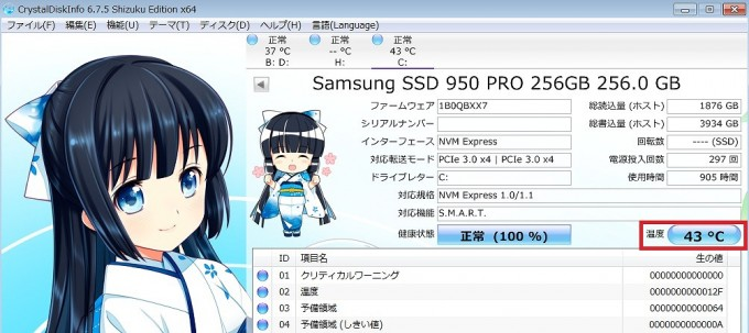 ssd950pro温度後