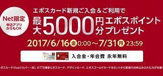 大人気エポスカード発行で11,000円分の現金ポイントが貰える